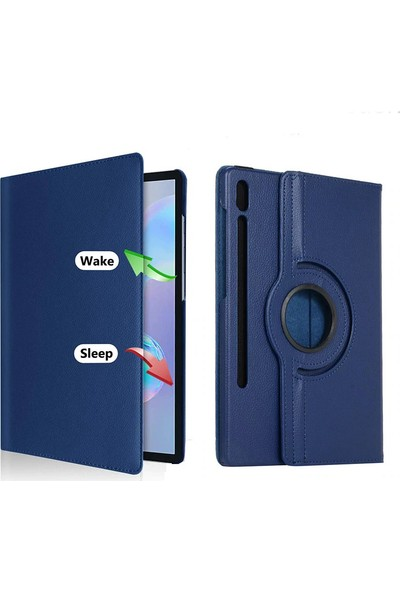 Happyshop Samsung Galaxy Tab S7 SM-T870 Kılıf Dönerli Standlı Suni Deri Kapaklı Kılıf Siyah