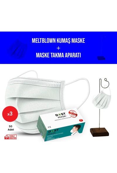 Dost Tekli Maske Takma Aparatı Hediyeli , Meltblown Filtreli, Telli, Cerrahi Maske - 50 Adet