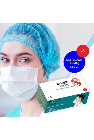 Dost Kulak Acıtmayan Meltblown Filtreli, 3 Katlı Telli Ce Belgeli, Ultrasonic Cerrahi Maske- 50 Adet