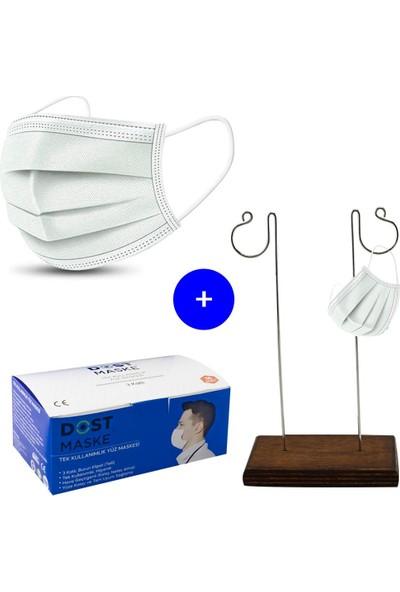Dost Telli, Full Ultrasonik, Kulak Acıtmayan Cerrahi Maske - 50 Adet, Ikili Maske Takma Aparatı Hediye