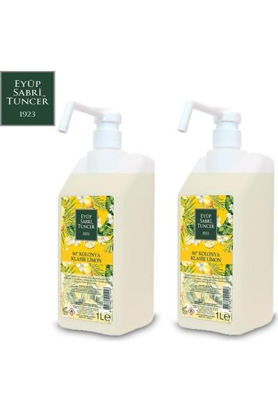 Eyüp Sabri Tuncer Limon Kolonyası | 1 Litre Sprey Başlıklı ( Pvc Şişe - 80 Derece ) x 2 Adet