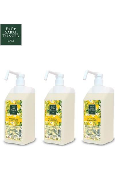 Eyüp Sabri Tuncer Limon Kolonyası | 1 Litre Sprey Başlıklı ( Pvc Şişe - 80 Derece ) x 3 Adet