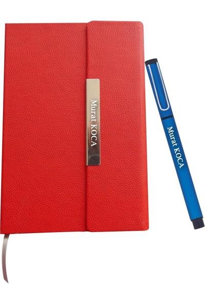 Ahşap Şehri Lale Kalemli Kişiye Özel Deri Ajanda Tarihsiz Notluk Kalemli Set Kırmızı