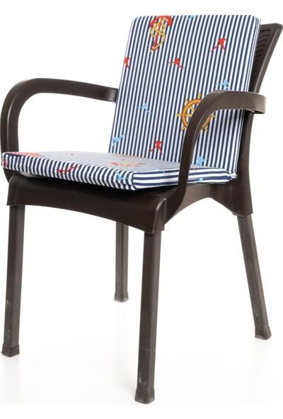 Mer-Tim Lacivert Çizgili Çapa Desenli Sandalye Minderi 1 Adet