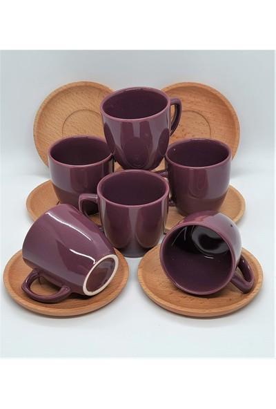 Keramika Bambu Tabaklı 12 Parça 6 Kişilik Bordo Fincan Takımı