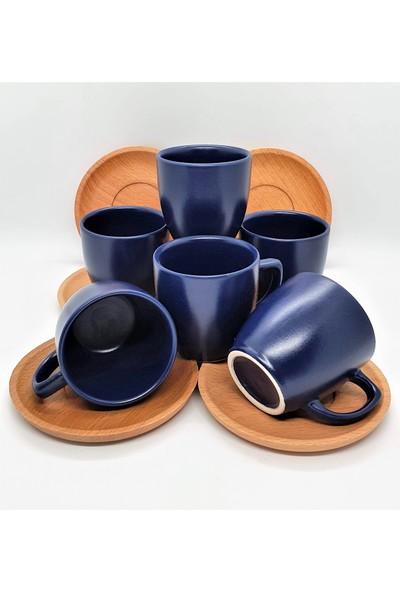 Keramika Bambu Tabaklı 12 Parça 6 Kişilik Lacivert Fincan Takımı