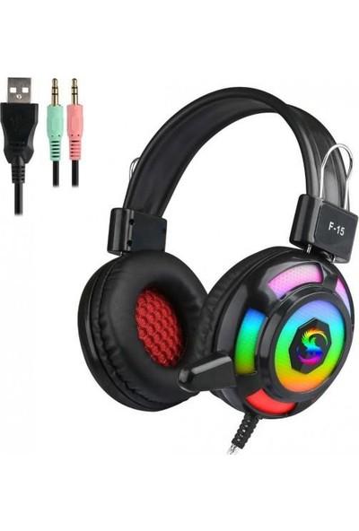 Kubite F15 Siyah 3,5mm Rgb Kulaküstü Oyuncu Mikrofonlu Kulaklık