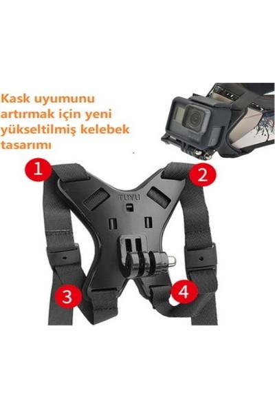 Tiyu Kask Kamera Vetelefon Çene Tutucu 4 Bacak