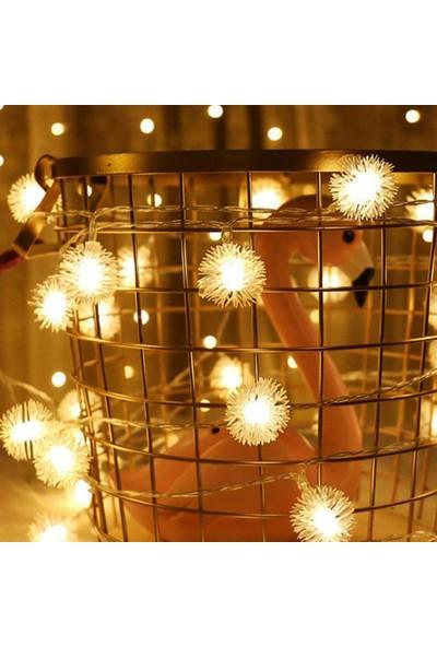 Patladı Gitti LED Işıklı Ponpon Kar Tanesi Dizeleri 28'li 4,5 Metre Pilli