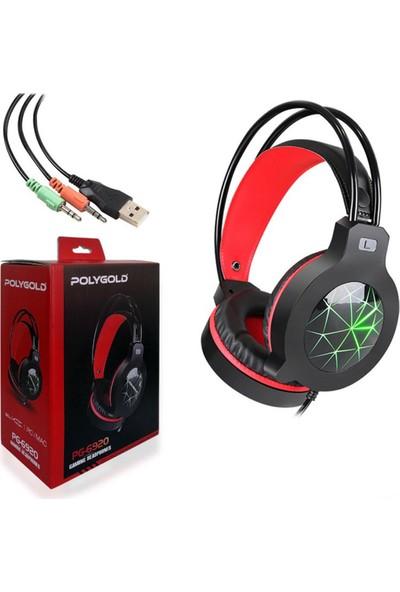 Polygold Ledli Gaming Mikrofonlu Kulaküstü Oyuncu Kulaklığı 3.5 mm Jack PG-6920
