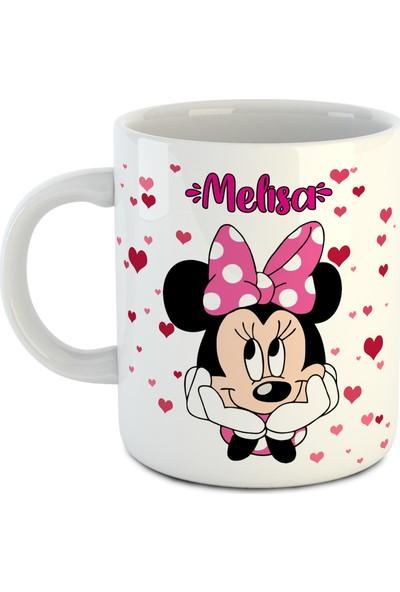 Dafhi Kişiye Özel Isimli Kupa - Kalpli Minnie Mouse