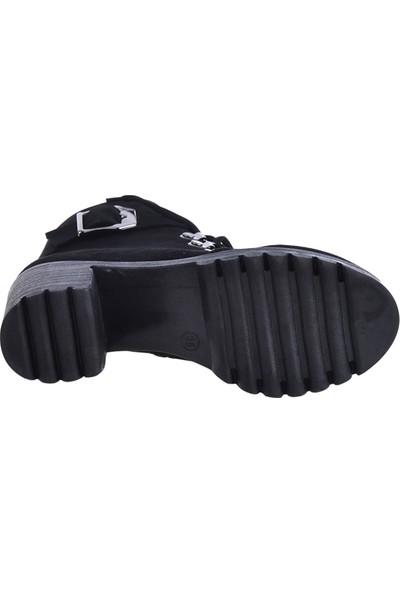 Byn Ayışığı 1886 Siyah 7cm Topuklu Kadın Bot Ayakkabı