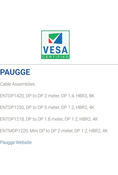 Paugge Vesa Sertifikalı 2m Displayport 1.4 Kablo (ENTDP1420)