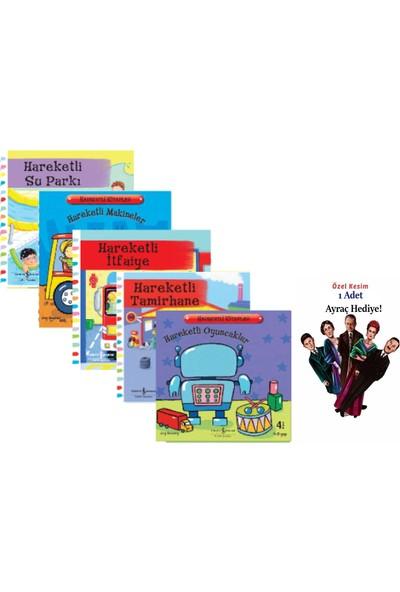 İş Bankası Kültür Yayınları Hareketli Su Parkı+Makineler + Tamirhane +Itfaiye + Oyuncaklar 5'li Hareketli Kitaplar Seti + 1 Adet Ayraç