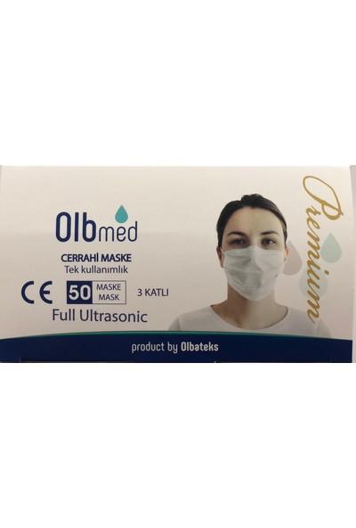 Premium Olbmed 50 Adet 3 Katlı Telli Ultrasonic Basklılı Yüz Maskesi