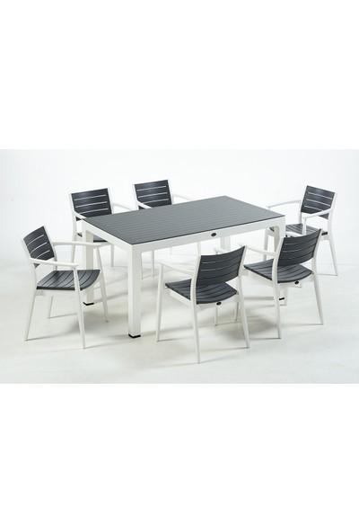Novussi Regnum 6'lı Camlı Set 90*150 Masa ve 6 Adet Koltuk Beyaz / Antrasit