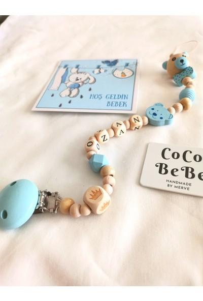 Coco Bebe %100 Doğal Ahşap Ürünlerden Bebek Emzik Zinciri