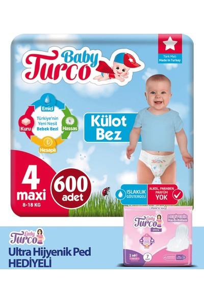 Baby Turco Külot Bez 4 Beden 600'LÜ + Hijyenik Ped