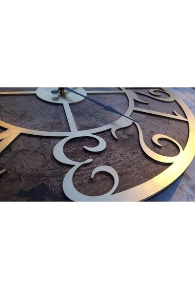 Markakanvas Eski Dünya Duvar Saati Altın (Gold) 50X50CM