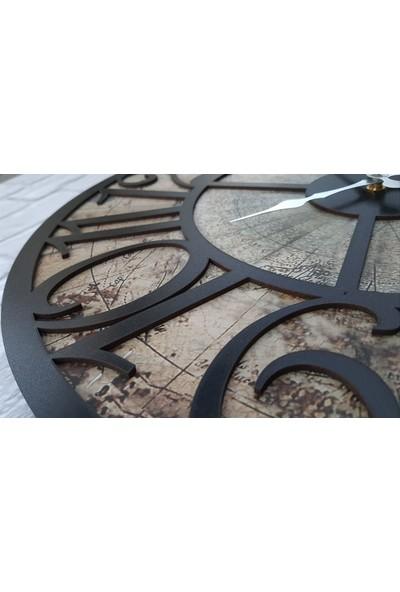 Markakanvas Eski Dünya Duvar Saati 50X50CM Siyah
