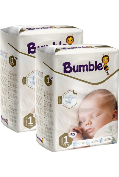 Bumble 1 Numara Yenidoğan Bebek Bezi Ikiz Paket 50 x 2