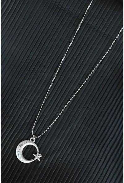 Bu Farklı Bir Hilal Uğruna Yazılı Ay Yıldız Tasarımlı Eskitme Gümüş Renk Metal Top Zincirli Kolye - BF6225