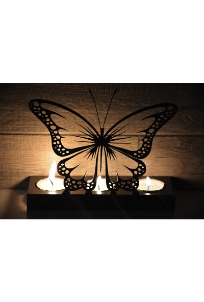 Pnr Trıple (Kelebek) Butterfly Metal Mumluk Şamdan