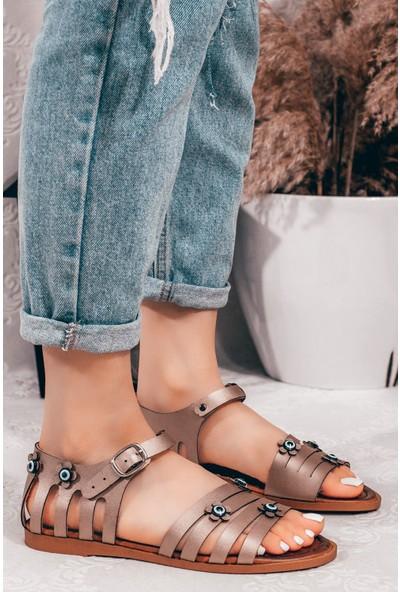 Adım Adım Altın Kadın Düz Sandalet