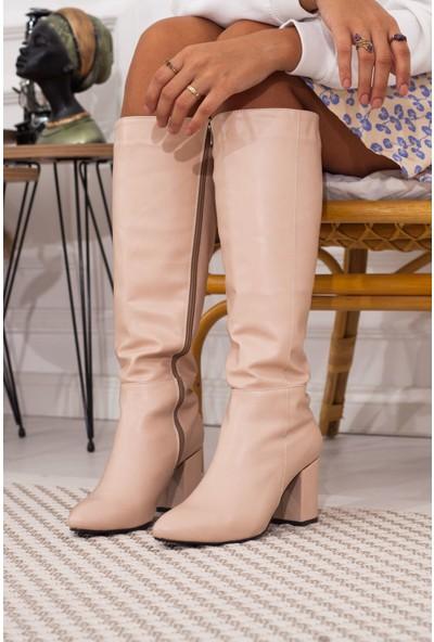 Adım Adım Pudra Kadın Topuklu Çizme