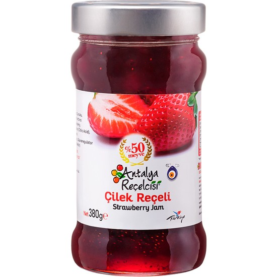 Antalya Reçelcisi Çilek Reçeli %50 Meyve Klasik Seri 380 Gr