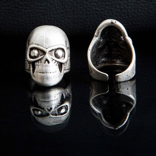 Selens Kuru Kafa Figürlü Eskitme Gümüş Renk Erkek Ayarlanabilir Çelik Yüzük