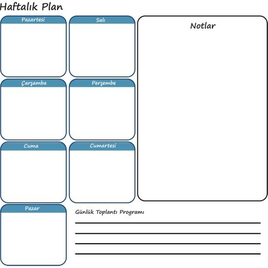 Evbuya Haftalık Planlayıcı Akıllı Kağıt + Silgili Kalem 70 x 56 cm