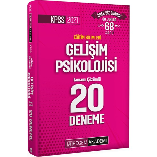 Pegem Akademi KPSS 2021 Eğitim Bilimleri Gelişim Psikolojisi Tamamı Çözümlü 20 Deneme