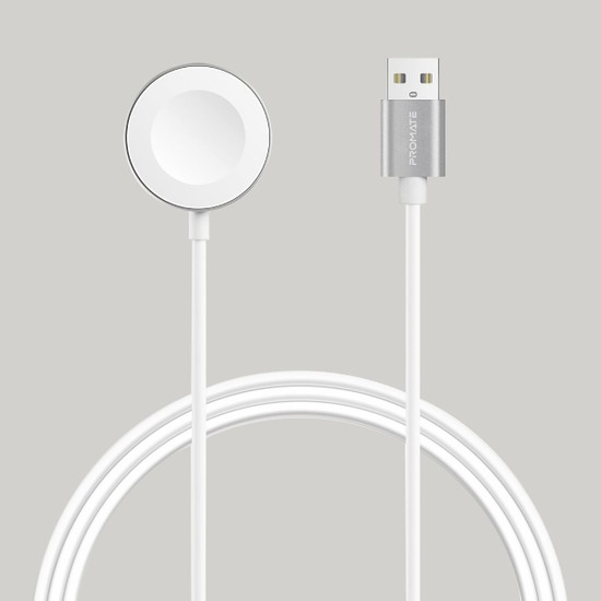 Promate Auracord-A Kablosuz Şarj Cihazı Apple Watch İçin Özel MFI Onaylı 5 Watt USB Bağlantılı