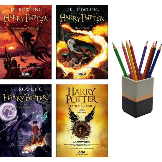 Harry Potter Son 4 Kitap (Zümrüdüanka Yoldaşlığı - Melez Prens - Ölüm Yadigarları - Lanetli Çocuk) + Betonsu Tasarım Kalemlik
