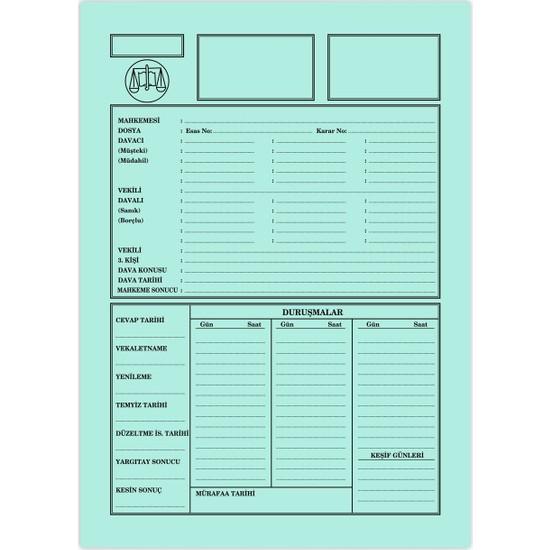 Kaya Büro Ofis Dava İcra Avukat Dosyası Yeşil Küçük Boy 1. Kalite 50'li