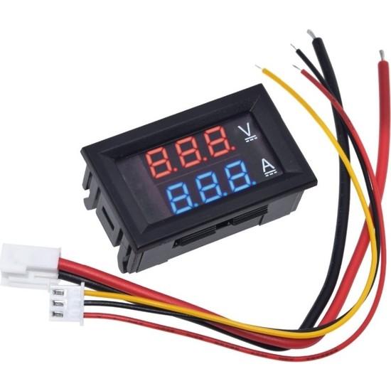 Joytech Dijital Dual Voltmetre Ampermetre Volt Akım Ölçer Dc 0-100V 10A Kırmızı-Mavi