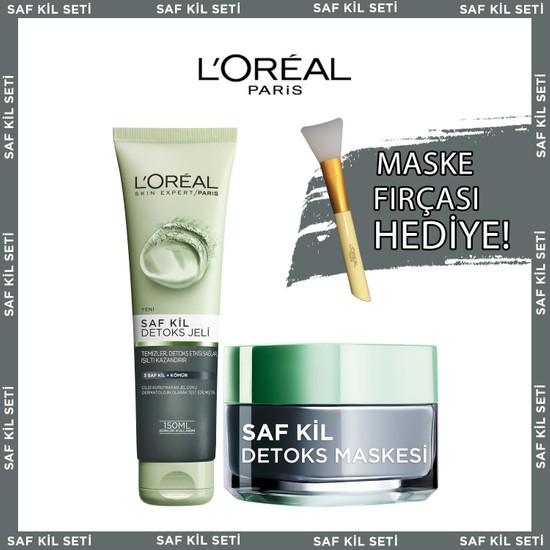 Loreal Paris Saf Kil Detoks Jel + Saf Kil Detoks Maskesi + Maske Fırçası