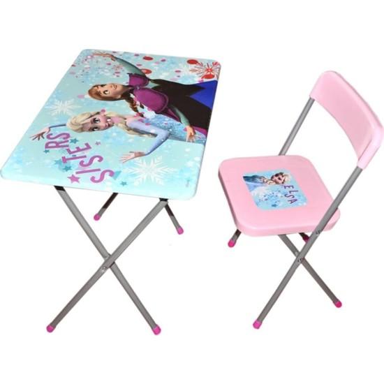 Vardem Frozen Çocuk Oyuncak Ders Çalışma Masası ve Sandalyesi