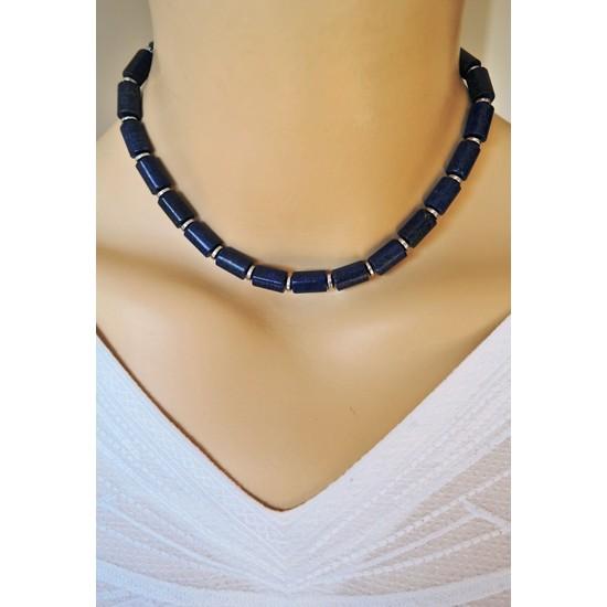 Dizayn Cam Mavi Lapis Lazuli ve Hematit Doğaltaş Tasarım Kolye