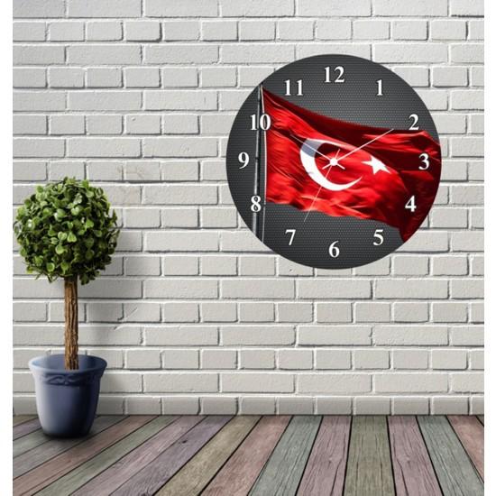 Reklamcım Türk Bayrağı Dekoratif Mdf Duvar Saati