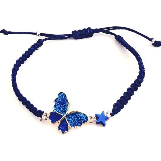 Funny Takı Mavi Hematit Yıldızlı Mavi Kelebek Bileklik