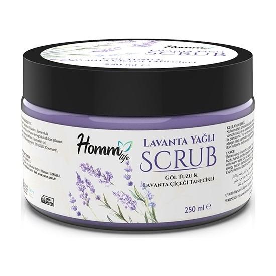 Homm Life Lavanta Yağlı Scrub, 250 ml Göl Tuzu&lavanta Çiçeği Tanecikli