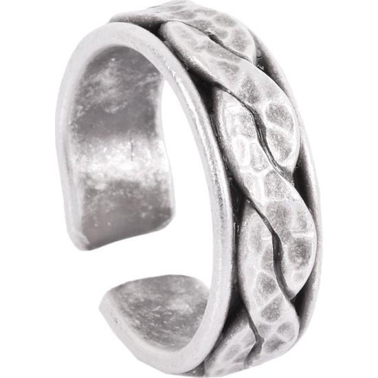 Labalaba Erkek Antik Gümüş Kaplama Ayarlanabilir Twist Yüzük