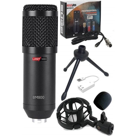 Lastvoice BM800 + 7.1 Ses Kartı Full Black Condenser Youtuber Mikrofon