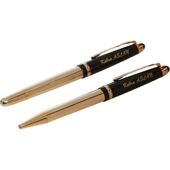 Kalem Center İsme Özel F 20 Tükenmez ve Roller Kalem Seti Siyah