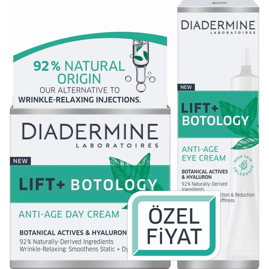 Diadermine Lift + Botology Kırışıklık Karşıtı Gündüz Kremi 50 ml + Göz Kremi 15 ml