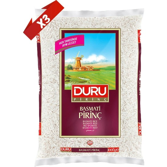 Duru Basmati Pirinç Paketi 3'lü x 1 kg