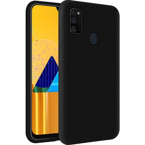 KZY Samsung M21 Kapak Içi Kadife Soft Logosuz Lansman Silikon Kılıf - Siyah