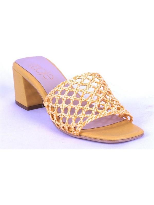 Ustalar Ayakkabı Sarı Kadın Topuklu Terlik 036.2153